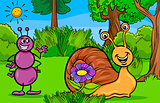 ant and snail animal cartoon characters