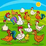 cartoon chickens farm animals group