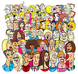 large group of cartoon people characters