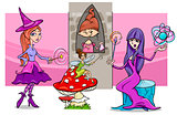 cartoon fantasy woman characters group