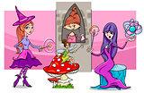 cartoon fantasy woman characters group