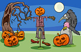 Halloween Cartoon Spooky Characters Group