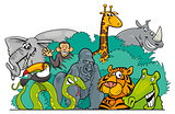 Cartoon Jungle wild animal characters