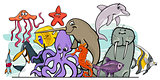 Cartoon sea life animal characters group