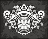 Vector wooden barrel. Hand drawn vintage illustration in engraved style.