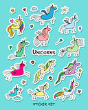 Magic unicorns, stickers collection for your design