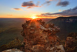 Sunset mountains Katoomba and Megalong Valley Australia