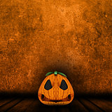 3D Halloween jack o lantern in grunge interior