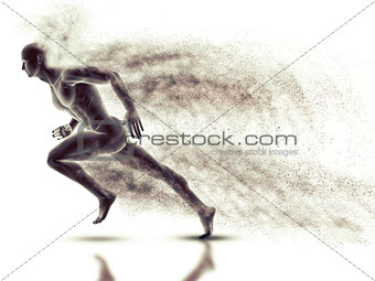 3D male figure sprinting with speed effect