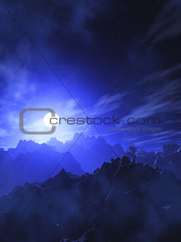 3D mountain landscape with moonlit sky