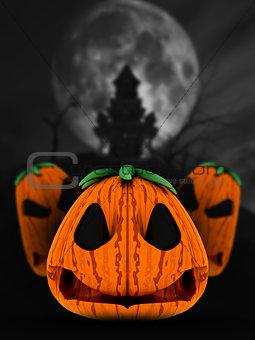 3D spooky pumpkins in haunted castle landscape