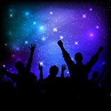 Audience on galaxy night sky background