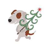 Cute dog carries Christmas tree