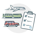 Delivery by air train or car icon