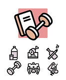 set of bodybuilding icons