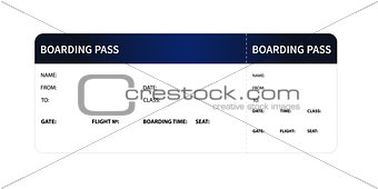 Blue boarding pass