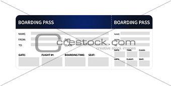 Blue boarding pass