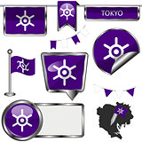 Glossy icons with flag of Tokyo