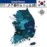 Map of South Korea with Counties