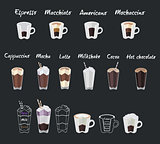 Set of coffee menu with a cups of coffee drinks