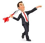 3d businessman throwing dart
