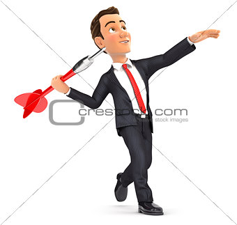3d businessman throwing dart