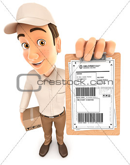 3d delivery man signature request
