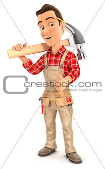 3d handyman carrying hammer on shoulder