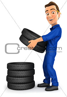 3d mechanic stacking tires