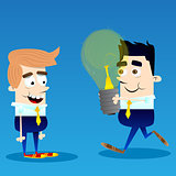 Businessman give idea bulb to another.