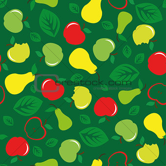 Apple and pear seamless pattern green background