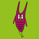 Crazy funny owl hand drawn