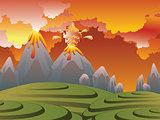 Cartoon Volcano Eruption