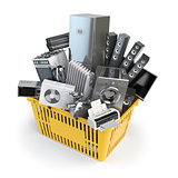 Kitchen appliances in the shopping basket. Online e-commerce concept.