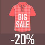 Red checkered polo shirt on a red background with a big sale and a twenty percent discount. Sale, cheap, offer