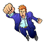Team leader in a blue business suit pulls his hand up in a fist