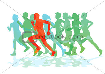 a group of runners while running