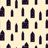Spooky houses seamless vector pattern.