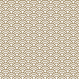 Japanese wave traditional vector seamless pattern in gold line color style.