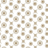 Japanese floral vector seamless pattern in gold line color style.