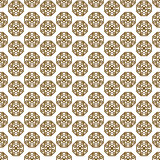 Japanese shapes vector seamless pattern in gold line color style.