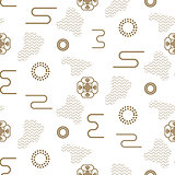 Japanese vector seamless nature pattern in gold line color style.