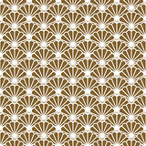 Japanese fan vector seamless pattern in gold line color style.