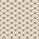 Japan inspired vector seamless pattern in gold line color style.