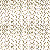 Japanese wave dotted traditional vector seamless pattern in gold line color style.