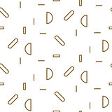 Gold line thin sphere shapes geometric seamless vector pattern.