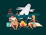Night picnic on beach