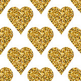 Gold heart seamless pattern on white backgroung