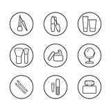 Vector cosmetic icons. Mascara, brush, perfume, cream and other make-up items. Makeup thin linear signs for manicure, pedicure and Visage.