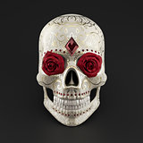 3D render of Sugar Skull decorated with roses, rubies and golden ornaments.